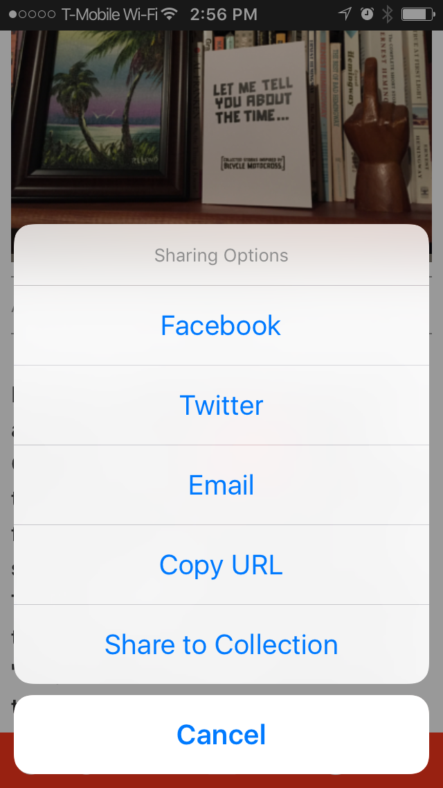 Built in sharing options