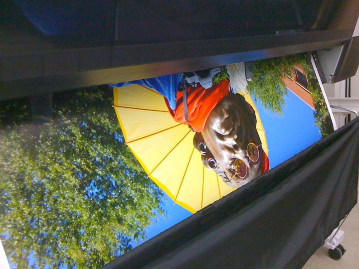Large format print exiting the printer