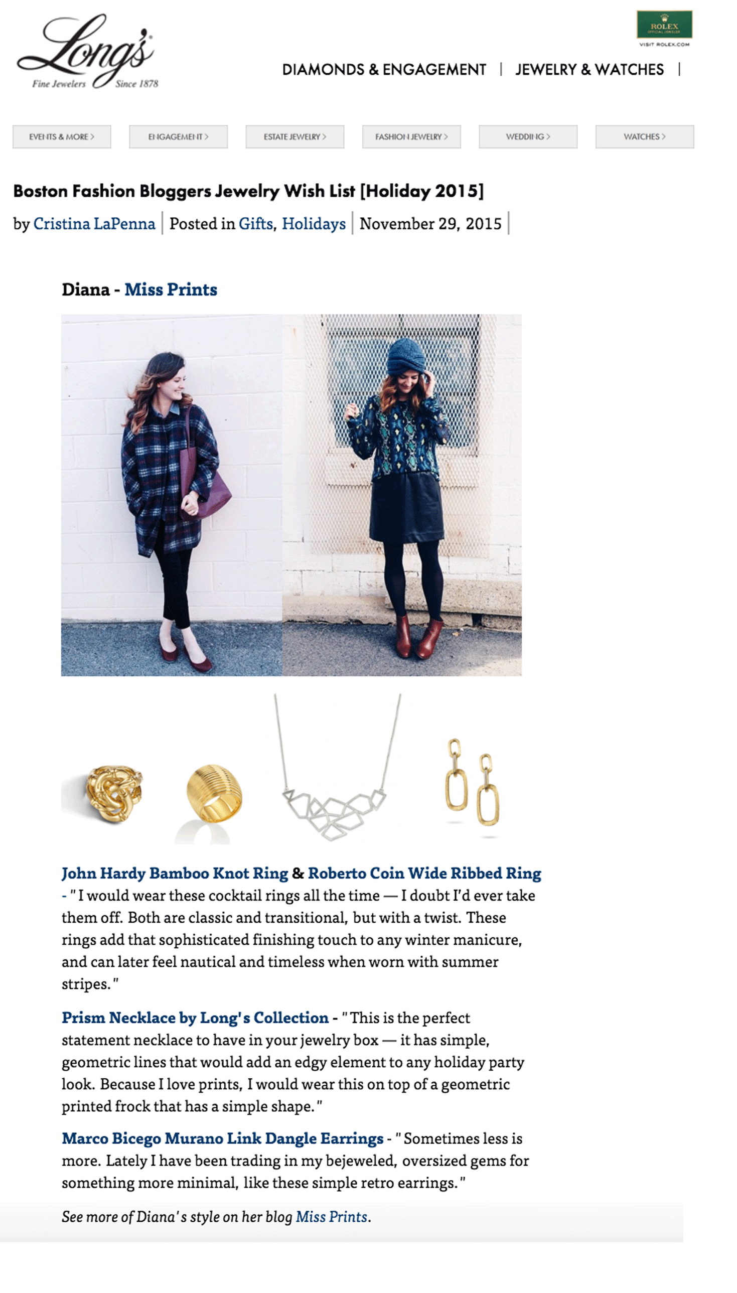 LONG'S JEWELRY HOLIDAY WISH LIST | DECEMBER 2015