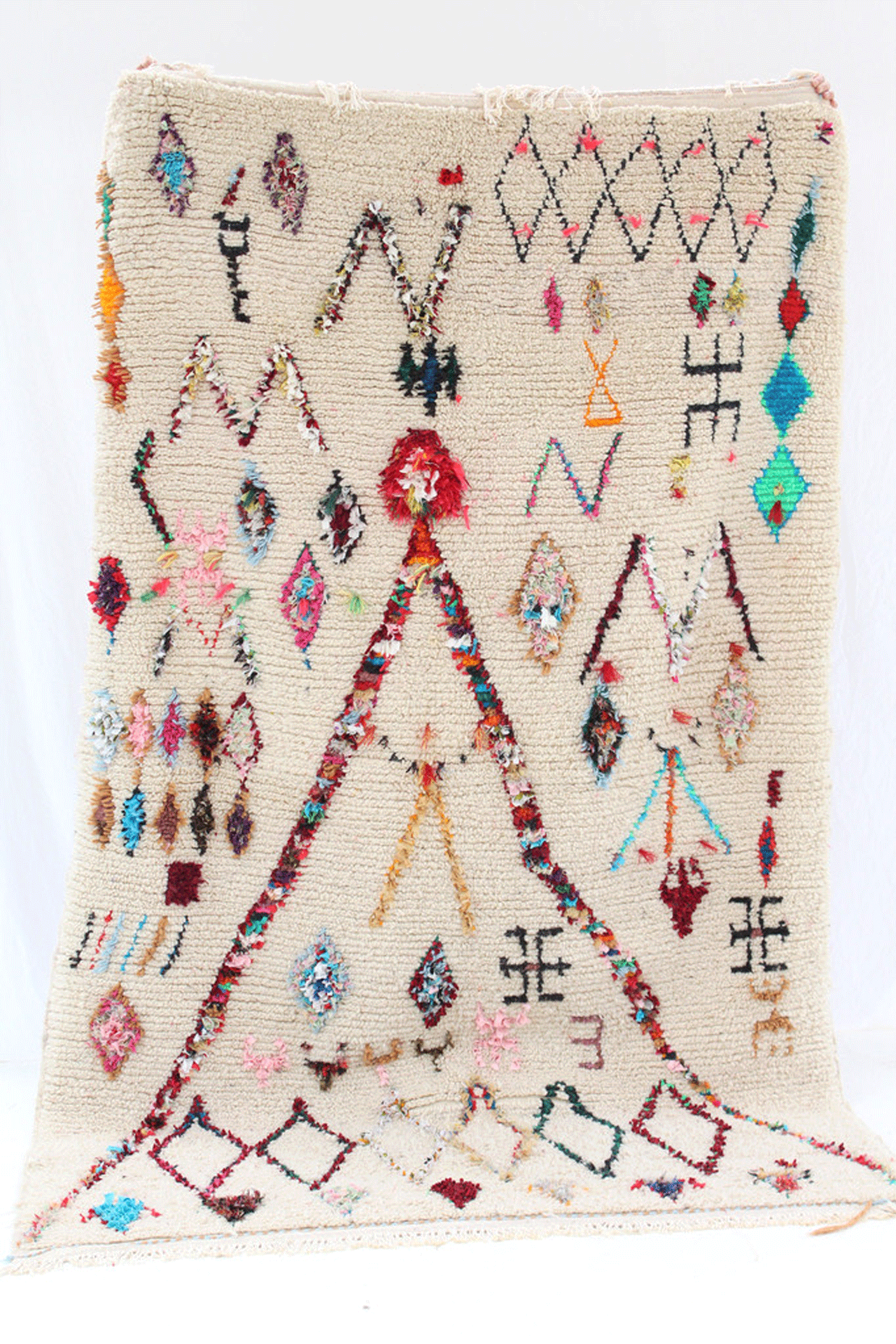 a   one of a kind handmade rug  from Azilal, Morocco