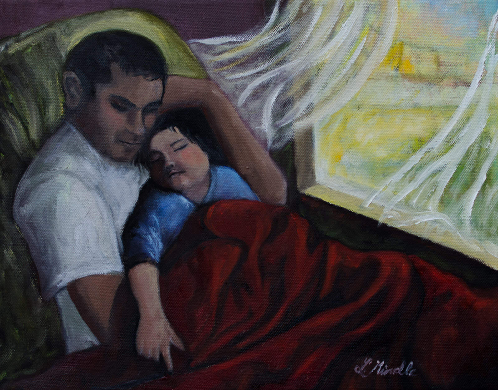 """Father and Son ,"" oil on canvas, 11x14''"