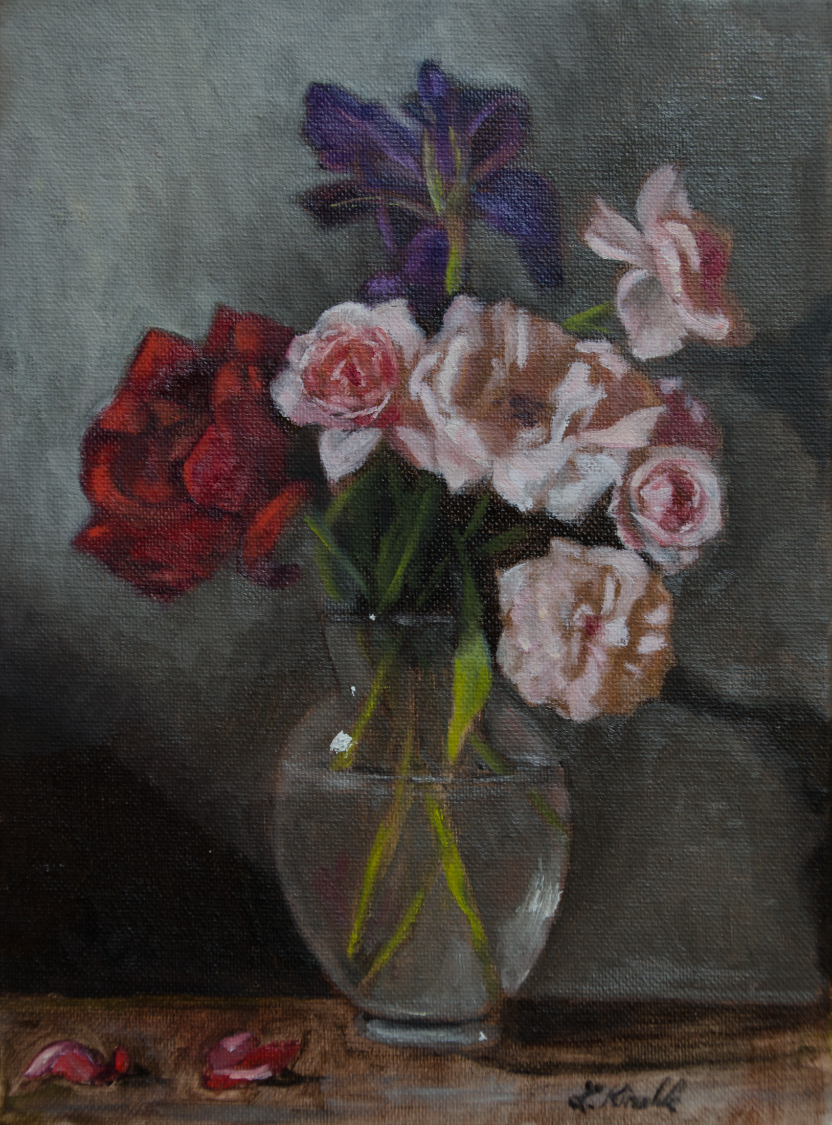 """Roses for my Mom,"" oil on canvas, 9x12''"