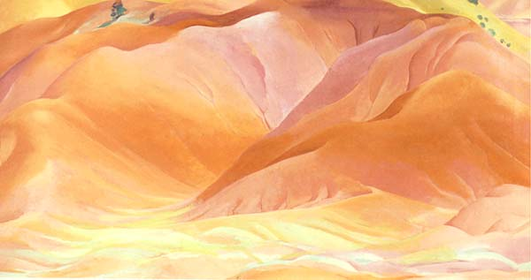 Nell's favorite painting by Georgia O'Keeffe,  Red and Orange Hills, 1938