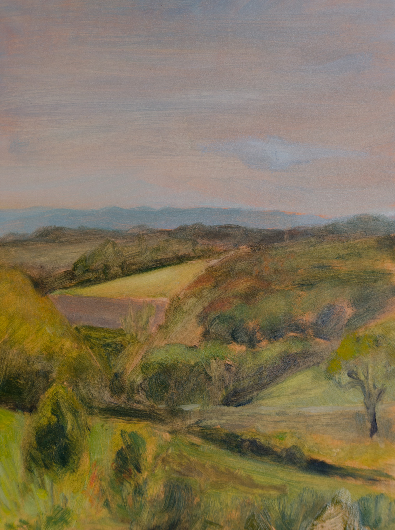 """View from Clear Spring Farm"" oil on gessoboard, 9x12''"