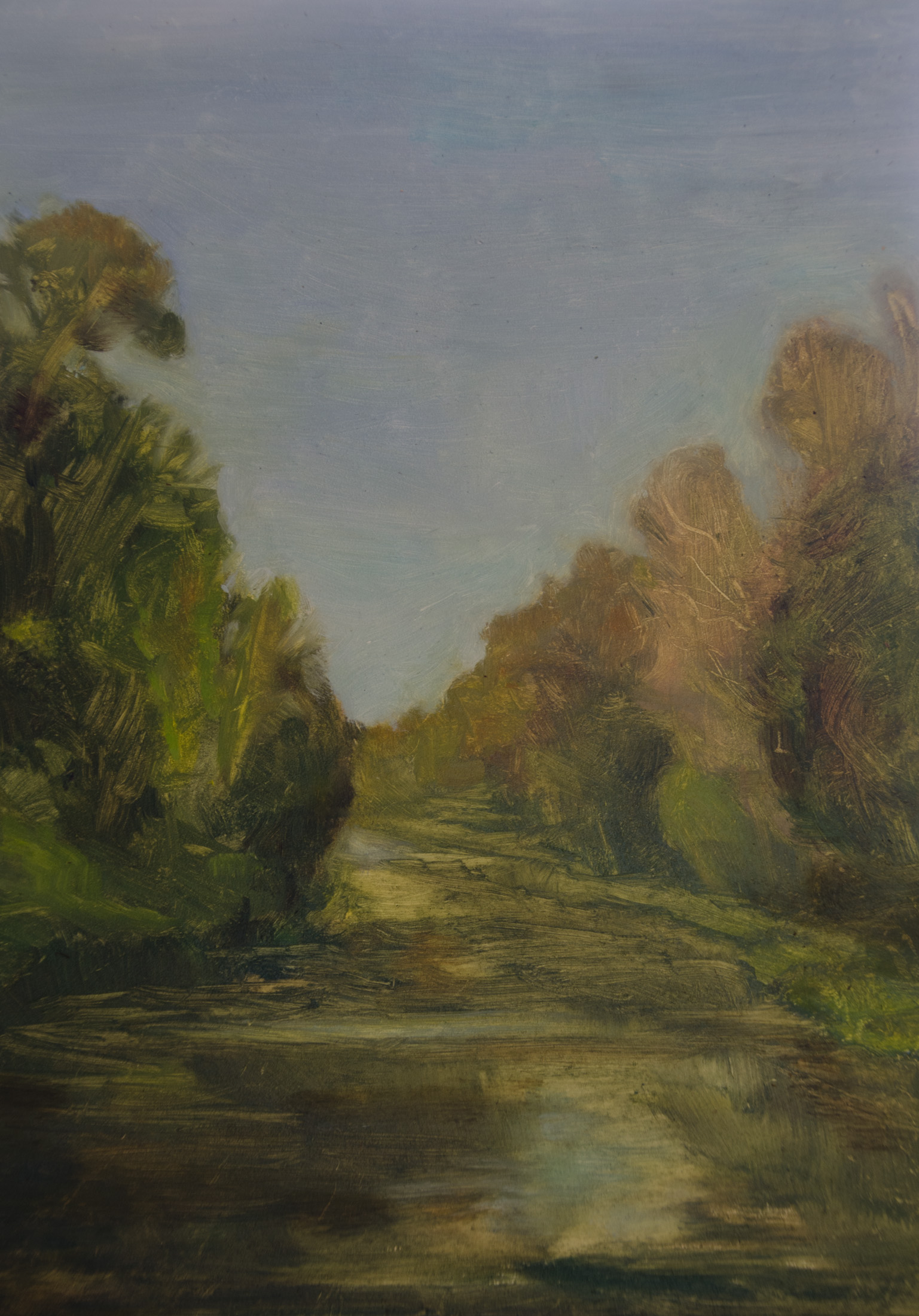 "My painting, ""Morning on Lehigh Canal"" oil on gessoboard, 9x12''"