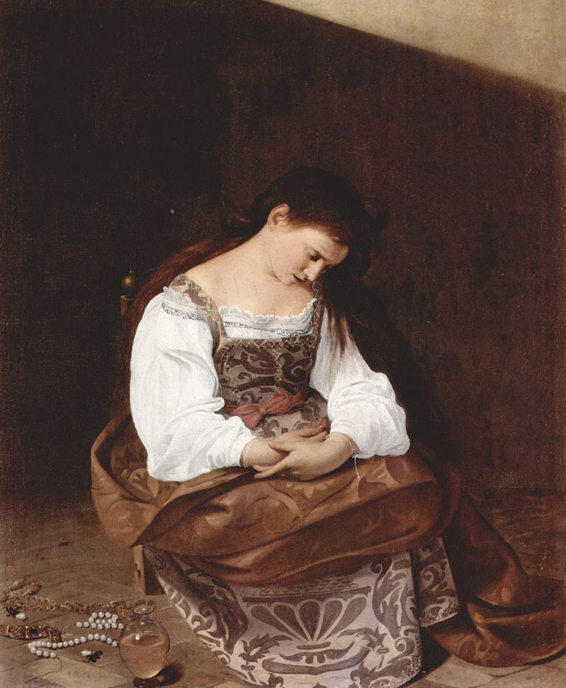 """A note from Lauren: For comparison, here is  Caravaggio's  """"Penitent Magdalene."""" Caravaggio and Gentileschi were contemporaries and friends, but their paintings of Magdalene evoke different emotions. I couldn't say it better than the Jesuit poet, Giuseppe Silos (1673), when he describes Caravaggio's painting:""""We can see the silent remorse hidden in her conscience, and in the depths of her heart she is burned by a secret flame."""""""