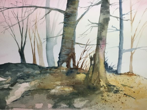 """""""Winter Trees"""" watercolor by Kate Brandes"""