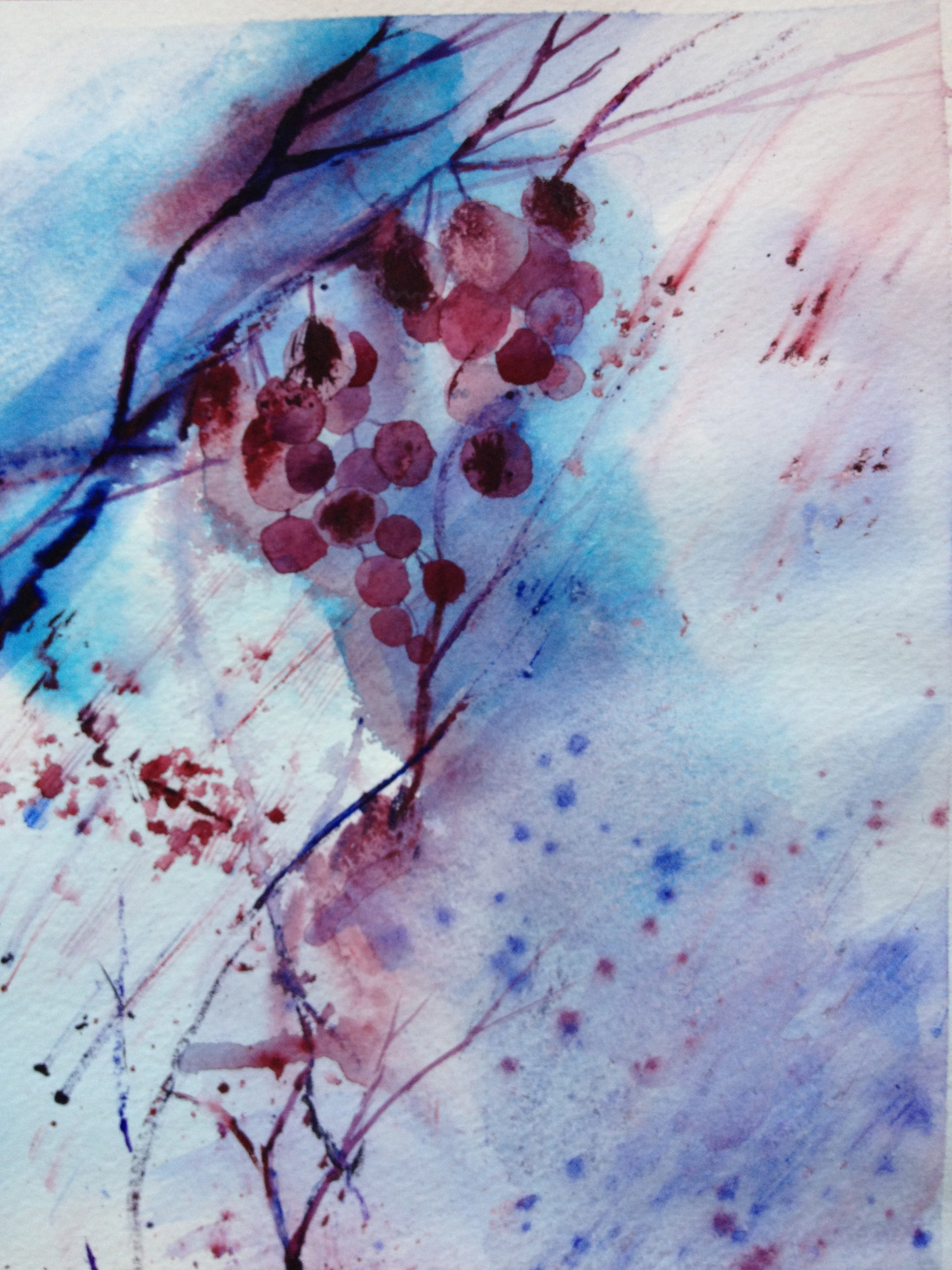 """""""Winterberries"""" watercolor by Kate Brandes"""