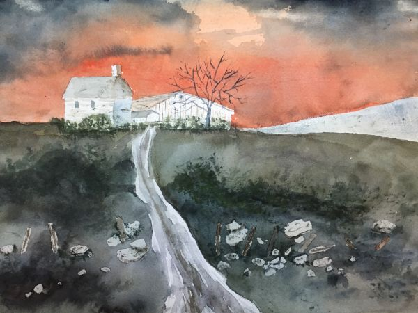 """""""House and Sun"""" watercolor by Kate Brandes"""