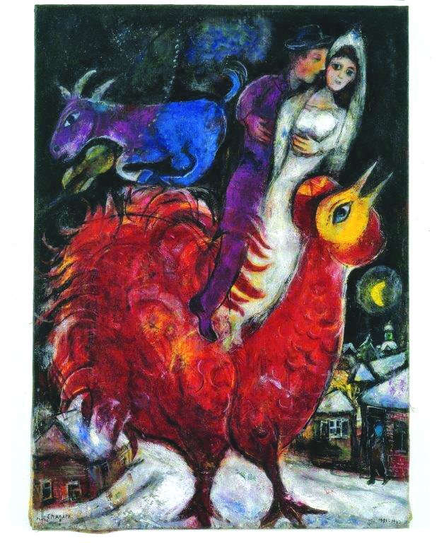 """""""The Bride and Groom on Cock"""" by Marc Chagall"""