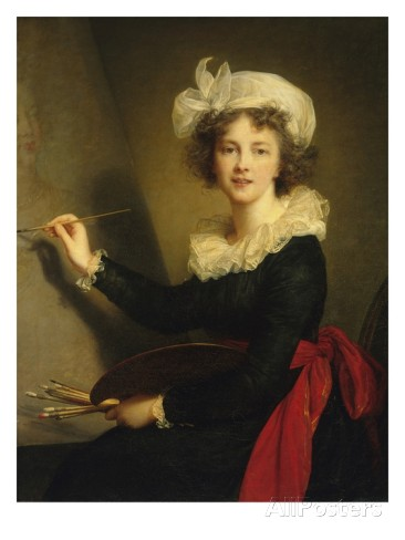 another self portrait of herself, at her easel