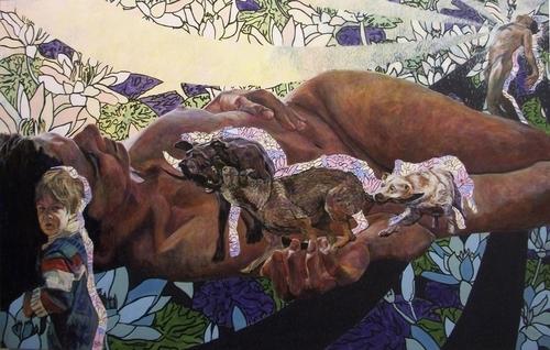 """Mad as Softness"" by Graham Preston, acrylic, 52x96''"