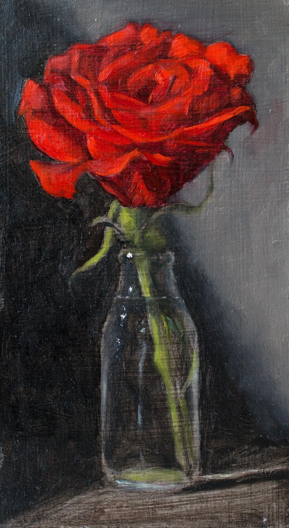 """Unfolding Rose"" oil on wood panel, 4x7''"