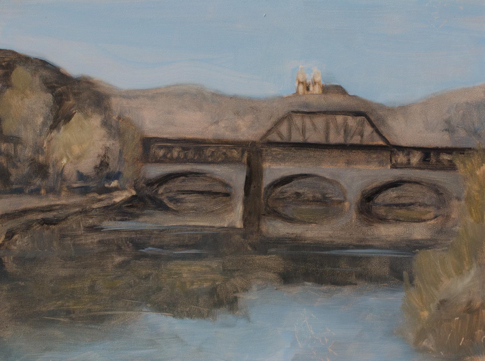 """Bridge Over the Lehigh River"" oil on gessoboard, 9x12''"