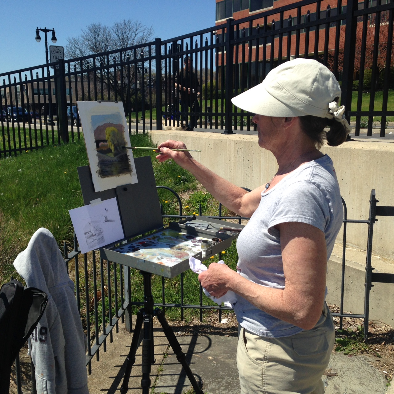 Kathy, another student, at her easel, doing some great work.