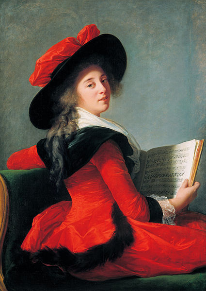 """""""Baronne de Crussol Florensac""""1785, oil on wood, painted by  Vigée Le Brun   I wrote this poem when I went to the  Élisabeth Louise Vigée Le Brun  exhibit at the Met on Saturday."""