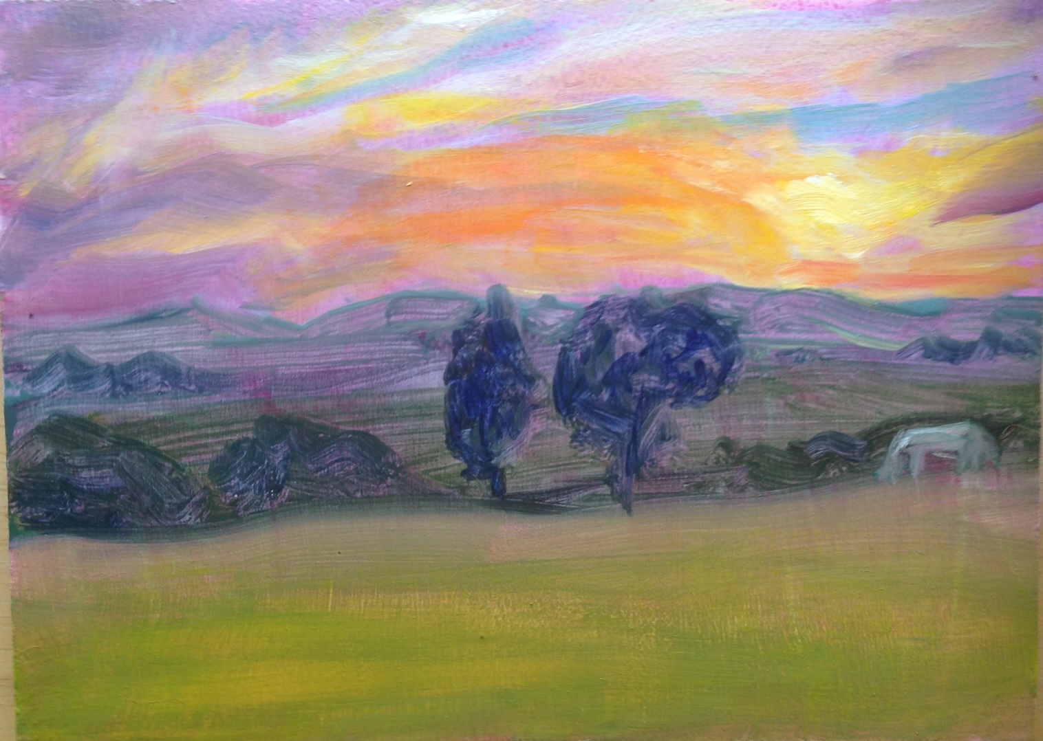 """Sunset and a White Horse"" oil on board, 5x7"""