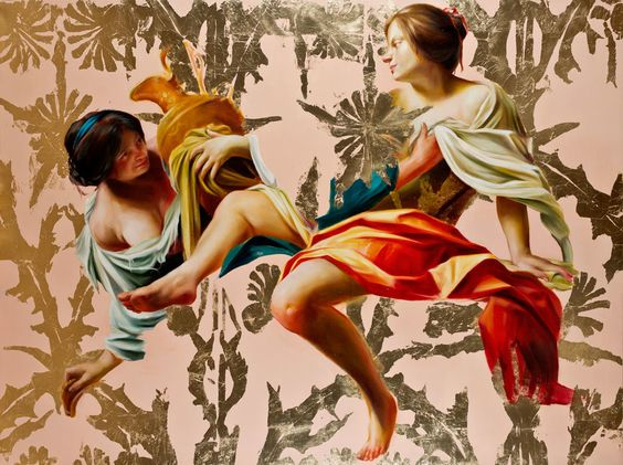 "these things are your becoming oil and metal leaf on canvas, 66""x90"", 2014    (These are Lot's daughters, without Lot, lifted from a painting by  Simon Vouet .)"