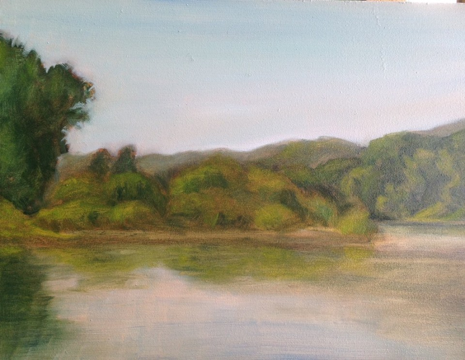 """The River at Frenchtown on Tuesday"" 9x12"""