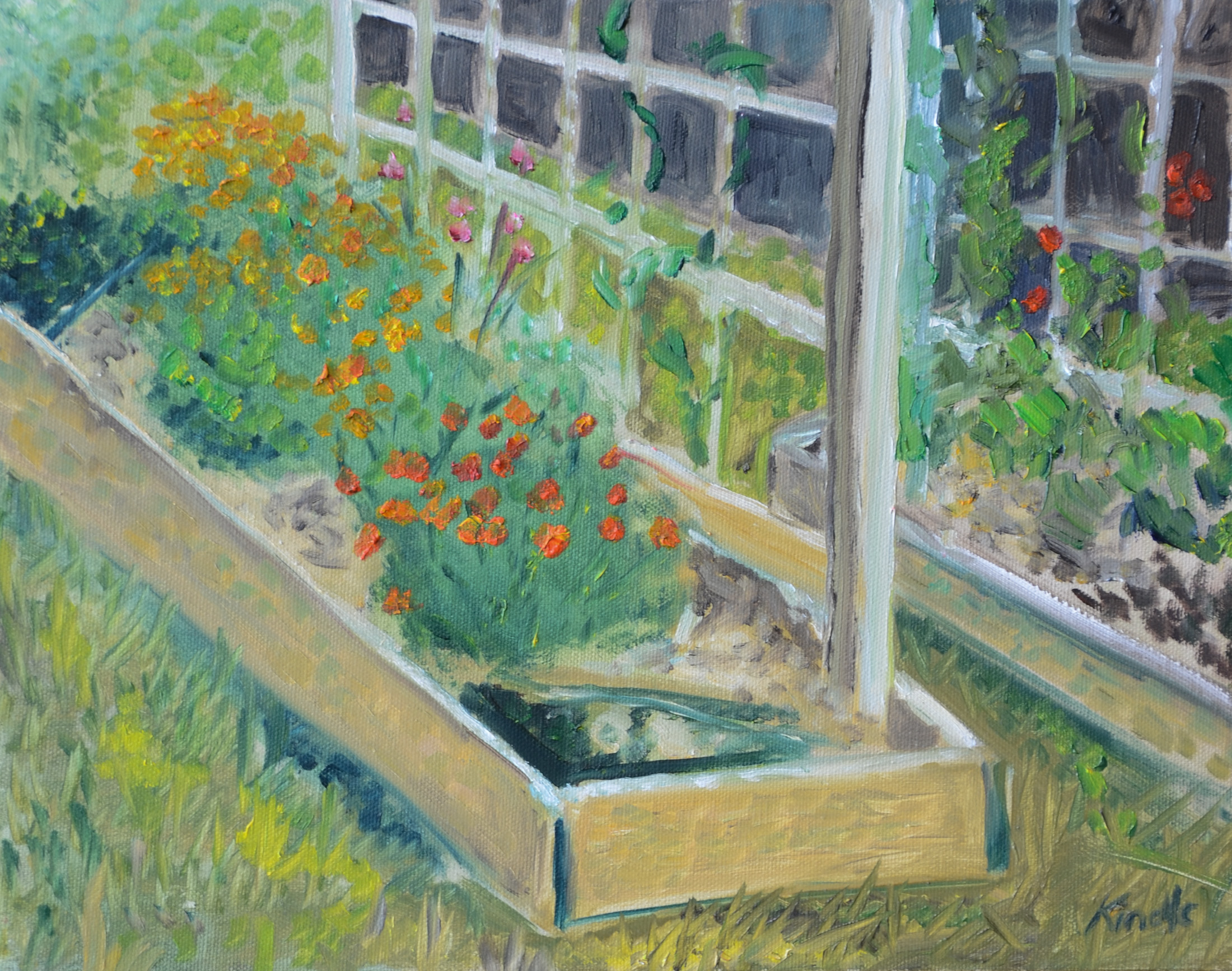 """Community Garden Marigolds"" oil on canvas, 8x10""  (From the private collection of Katherine Johnstone)"