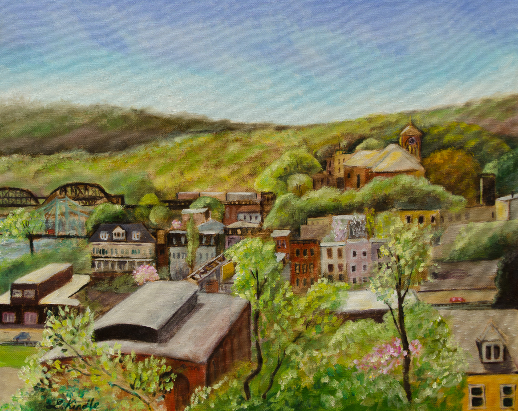 """Easton Rooftops in Spring"" May 2015, 16x20"" oil on canvas  (from the private collection of Berry Steiner)"