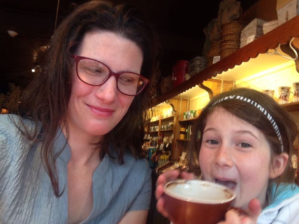 Me and my daughter, having a date at a cafe and being silly!