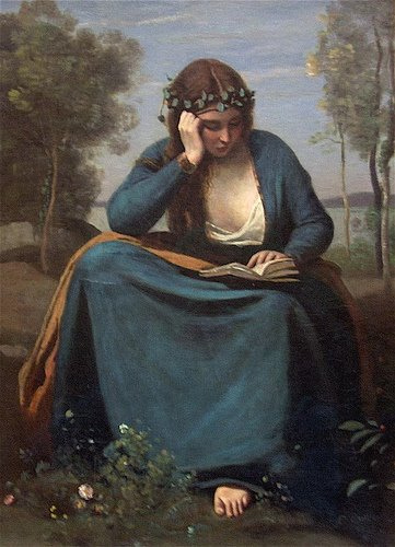 """Woman Covered with Flowers, Reading"" (1845) Corot"
