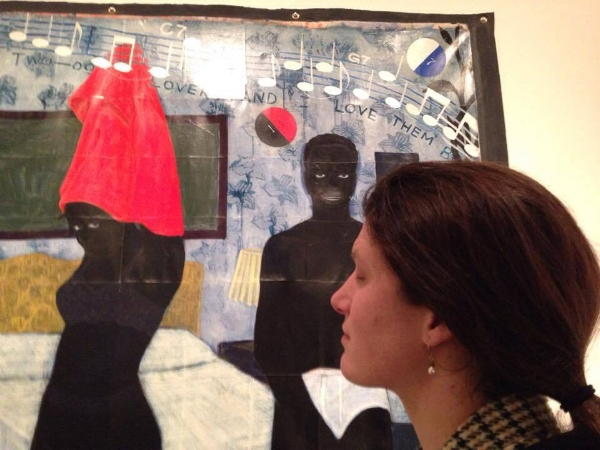 """Me, taking in """"Could This Be Love,"""" 1992, acrylic and collage on canvas, by Kerry James Marshall"""
