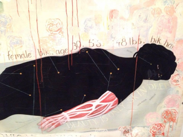 """detail of """"Beauty Examined"""" acrylic and collage by Kerry James Marshall, 1993"""