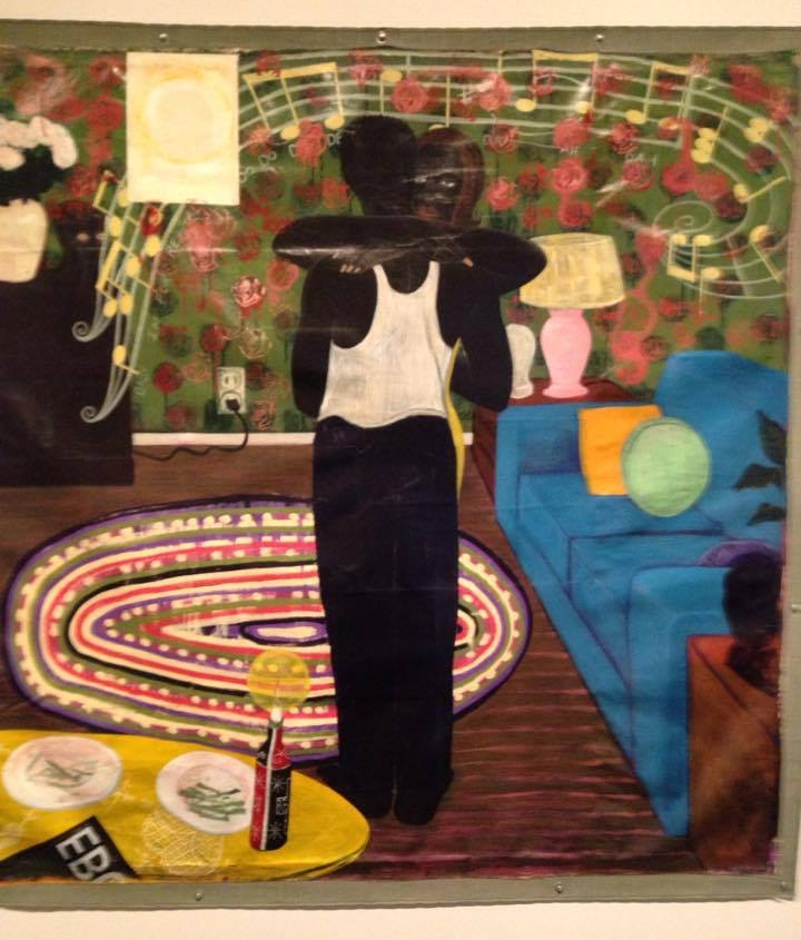 """detail of """"Slow Dance,"""" a painting by Kerry James Marshall  (You can see it's just a large canvas nailed to the wall, unstretched and unframed, like many of his paintings.)"""