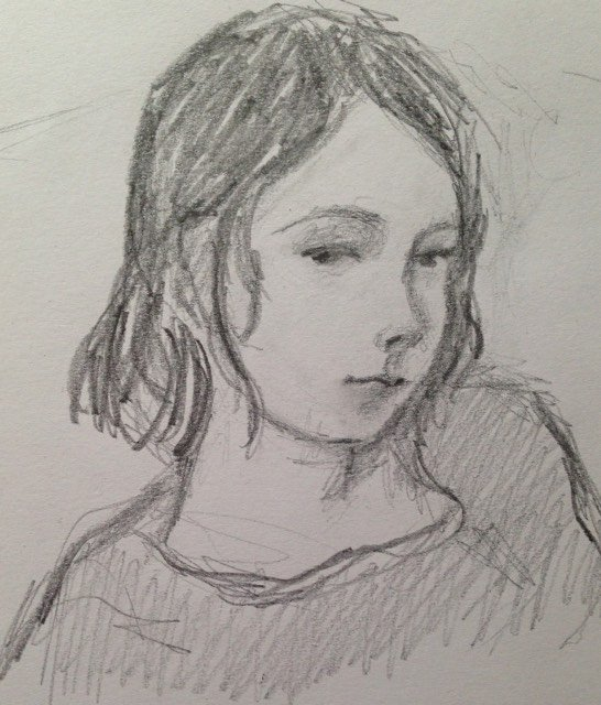 I made this little sketch of my sleepy daughter two days ago. Almost ten! Time passes fast.