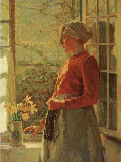 """""""The First Daffodils, Girl from Laren""""by Max Metzoldt"""