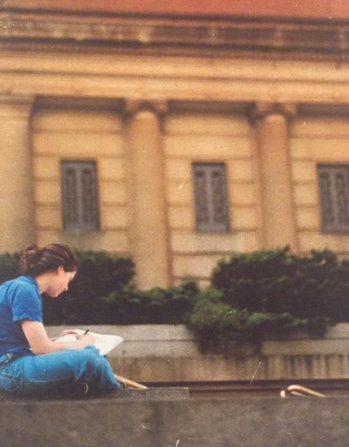 Here is a photo of   me,   sketching on the steps of the Metropolitan Museum of Art during a high school field trip. I'm about 17, I'm guessing.