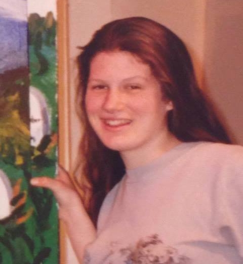 """Here's a photo of me in high school. I'm proudly holding onto a piece of some scenery I painted for the school play, """"Arsenic and Old Lace."""" (#dramaclub #theatergeek)"""