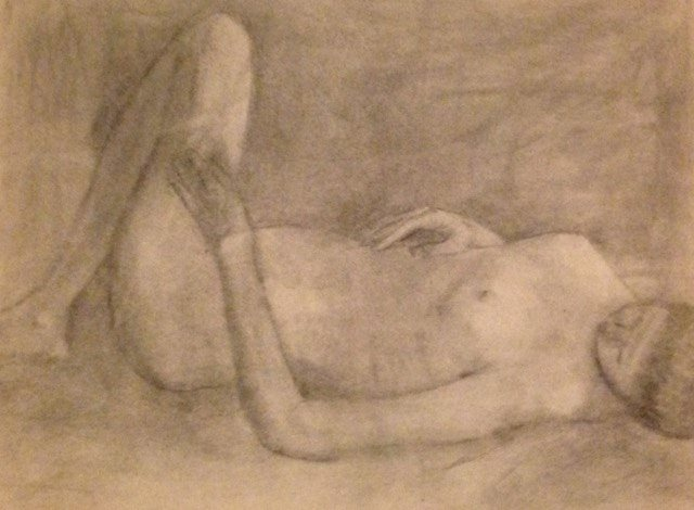 """Here is a charcoal drawing I did in that Moore class, so long ago. It's too bad, I couldn't find the naked man drawing that I wrote about. Perhaps, in my state of """"shock,"""" I threw it away..."""