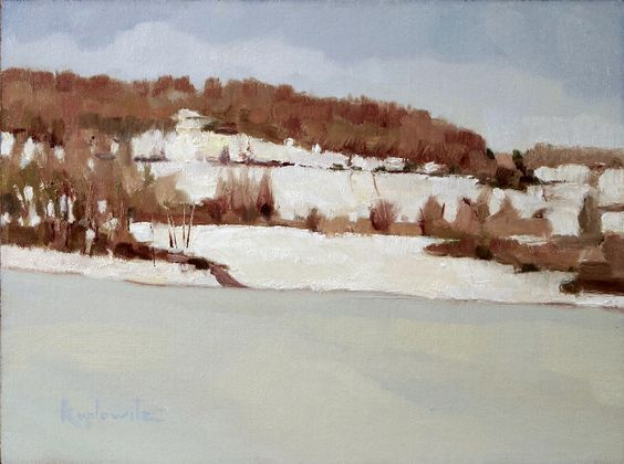"""""""Frozen Lake New Galena"""" oil on linen, another painting by Barry Koplowitz    (Side note: Barry is one of my favorite artists, and he has some  plein air painting workshops  coming up in Yardley, PA which are sure to be fantastic.)"""