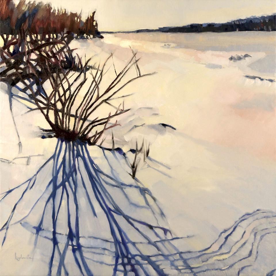 """Snow Shadows"" by  Barry Koplowitz , oil on linen"