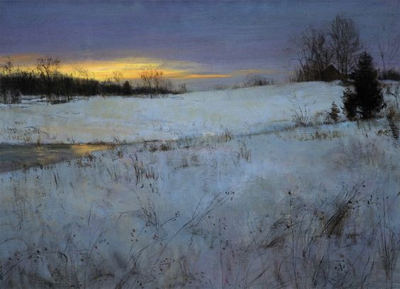 """"""" Winter Afterglow """" by Peter Fiore, oil on linen"""