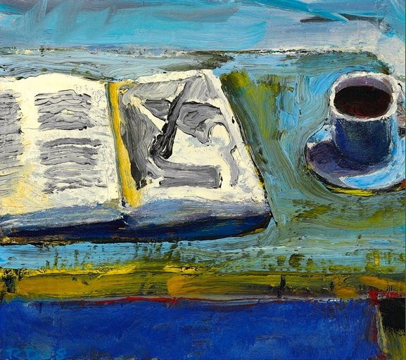 """""""Still Life With Book"""" painting by  Richard Diebenkorn"""