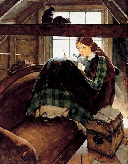 Here's an illustration by Norman Rockwell that I remember vividly from my childhood copy of  Little Women  by Louisa May Alcott. I loved that book, being one of four sisters myself. I always wanted to be the character Jo, who wrote imaginative stories while hiding up in the attic of her house.