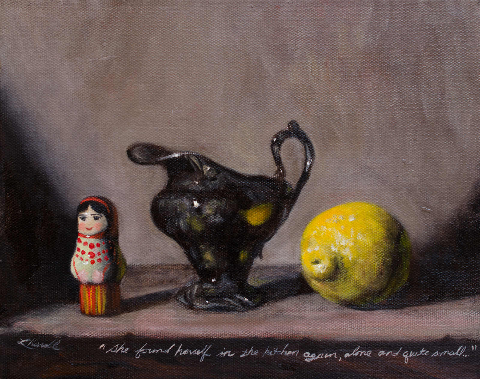 """She found herself in the kitchen again, alone and quite small..."" oil on canvas, 8x10"""
