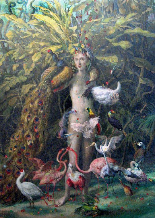 """Self Portrait as Bird Feeder,"" oil painting by  Julie Heffernan"