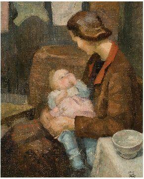 """""""La Mère,"""" a painting by Loïs Mailou Jones"""