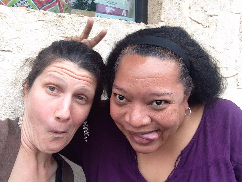 Chawne and me, being silly outside the cafe.