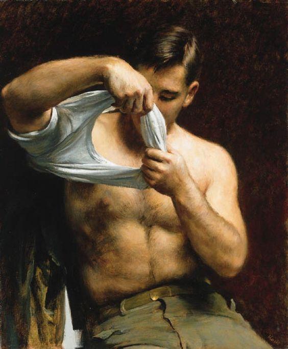 """""""Man Putting On His Shirt"""" painting by  John Koch"""