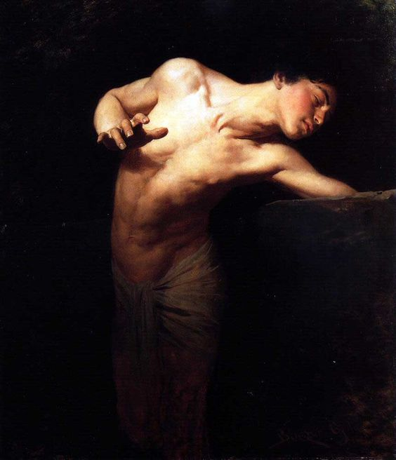 """""""Narcissus,"""" painting by     Gyula Benczúr , 1880"""