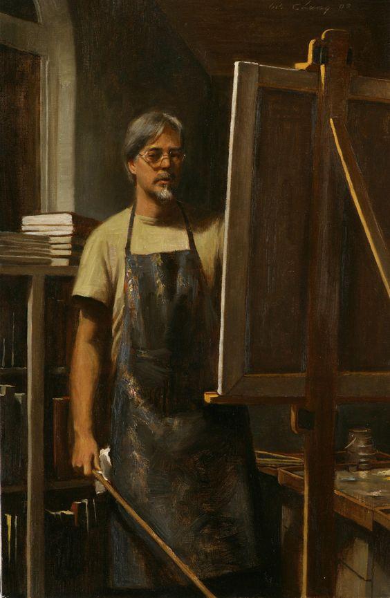 Self portrait by  Warren Chang,  oil on canvas