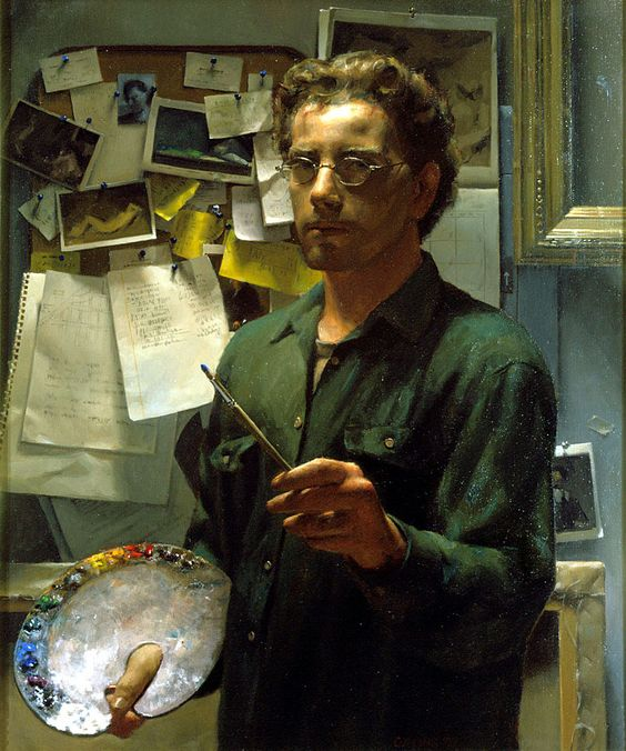 Self Portrait with Palette, by  Jacob Collins , Oil on canvas