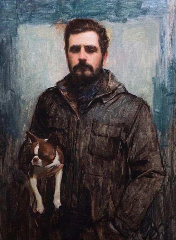 """""""Me and Lu"""" painting by  Aaron Westerberg  (Self portrait, oil on canvas)"""