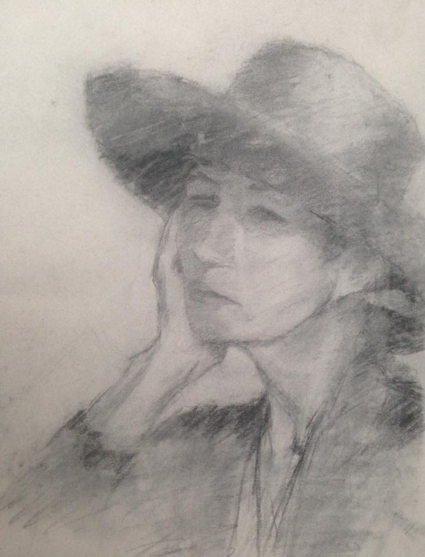 """Beautiful charcoal sketch of Patti Bloss by artist Paul McGinn, 18x24"""" $30.00   (All prices are suggested; make an offer!)"""